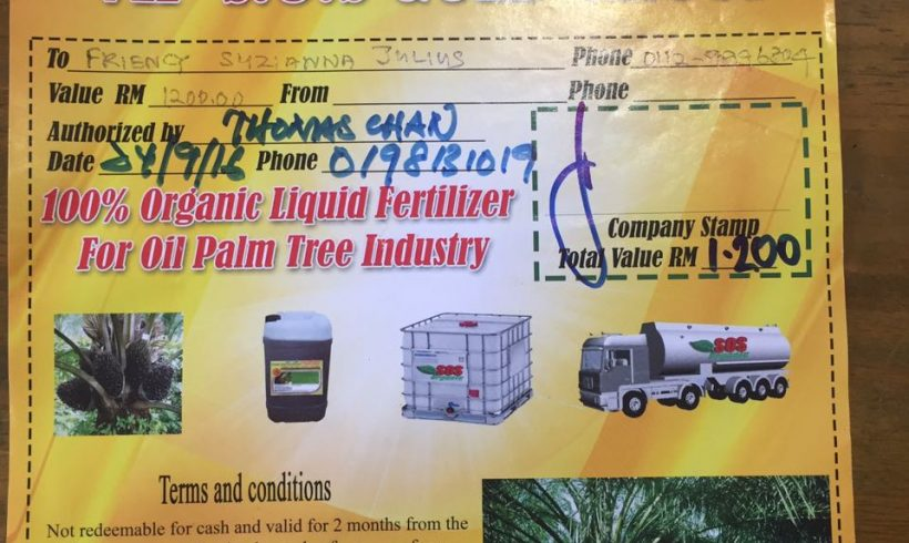 Organic Fertilizer Pickup from Papar Distribution Center – 13 FEB 2017
