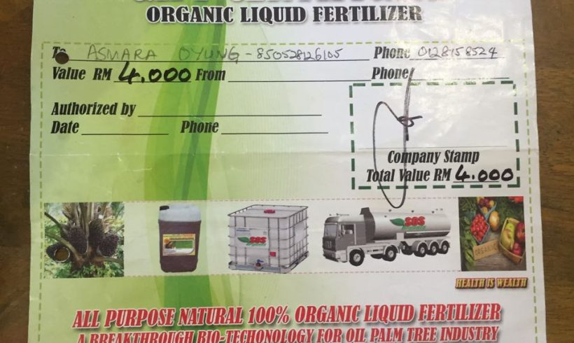 Organic Fertilizer Pickup from Papar Distribution Center – 11 FEB 2017