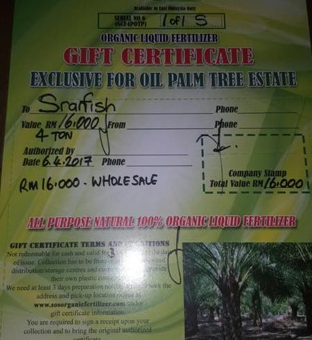 SOS organic liquid fertilizer papar farm giveaway